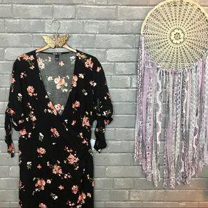 charlotte russe // black pink floral wrap dress 2x